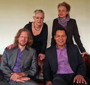 v. l. Erik Hoeppe, Gisela M. Gulu, Valeska Hegewald, Lusako Karonga